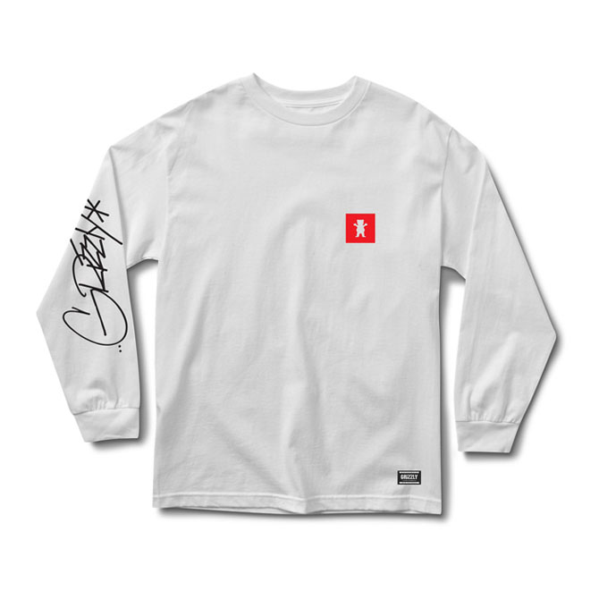 GRIZZLY SCRAWL L/S TEE - WHITE