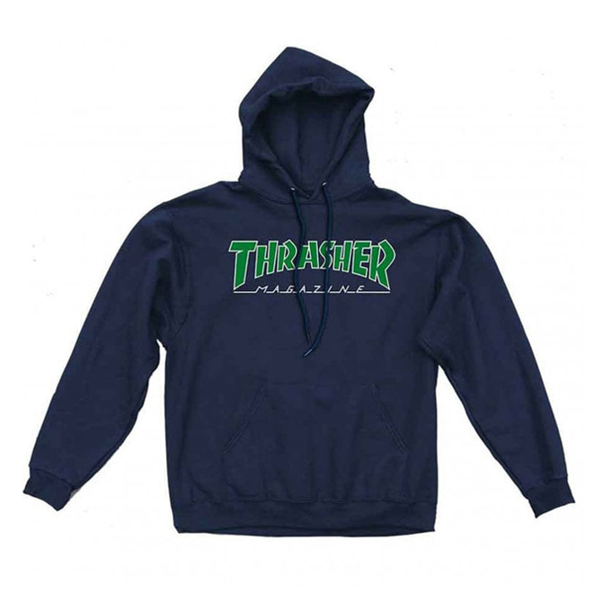 THRASHER OUTLINED HOOD - NAVY