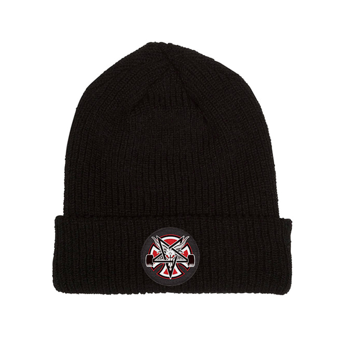 INDEPENDENT PANTAGRAM CROSS BEANIE - BLACK
