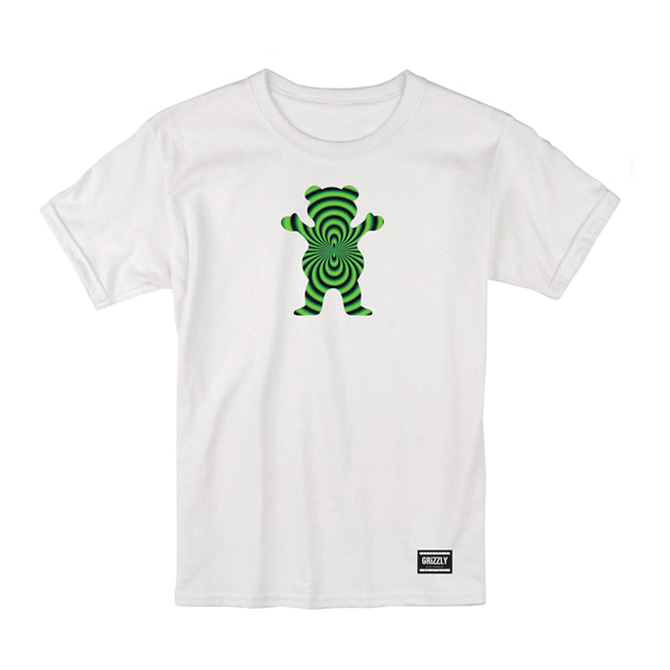 GRIZZLY WARPED OG BEAR CROP TEE - WHITE