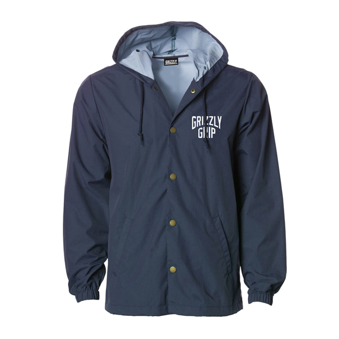 GRIZZLY ALL CITY HOODED COACHES JACKET - NAVY
