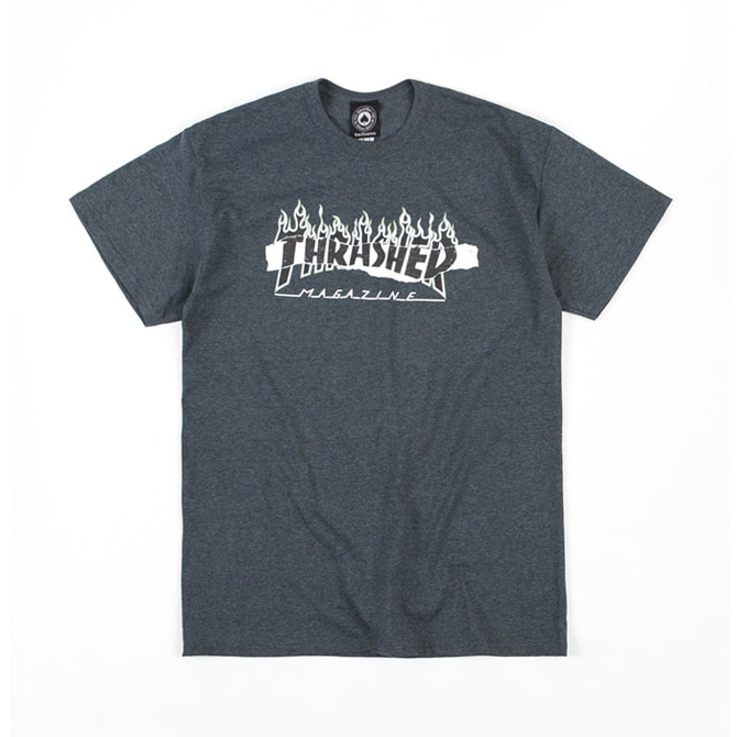 THRASHER RIPPED TEE - DARK HEATHER