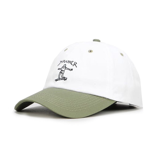 THRASHER GONZ OLD TIMER HAT - WHITE/OLIVE