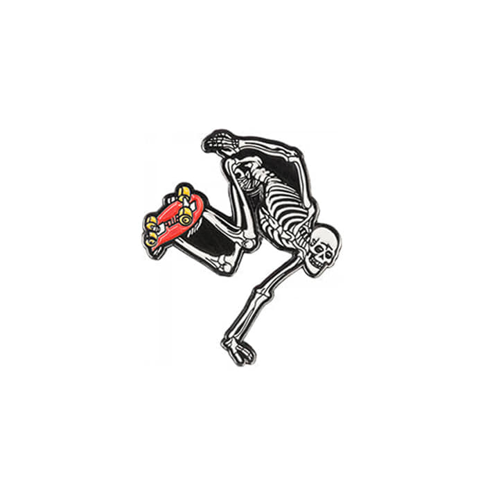 POWELL PERALTA SKATEBOARDING SKELETON LAPEL PIN - RED