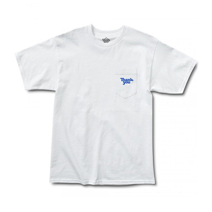 THANK YOU THANK YOU POCKET TEE - WHITE/BLUE