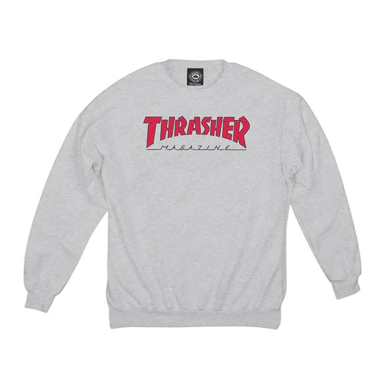 THRASHER OUTLINED CREW - ASH GREY