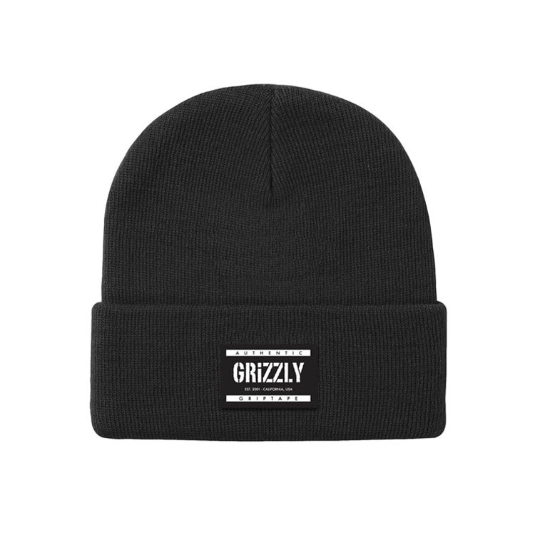 GRIZZLY LABELED BEANIE - BLACK