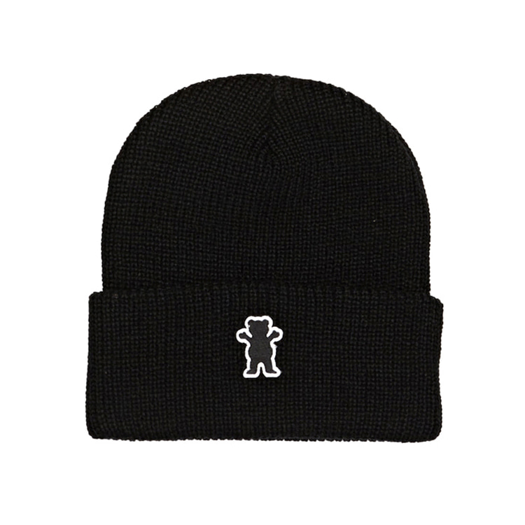 GRIZZLY OG BEAR PATCH FOLD BEANIE - BLACK