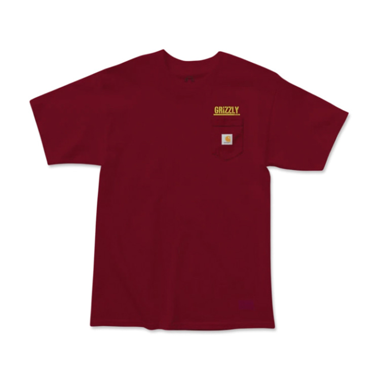 GRIZZLY STAMP WORK CARHARTT POCKET S/S - BURGUNDY