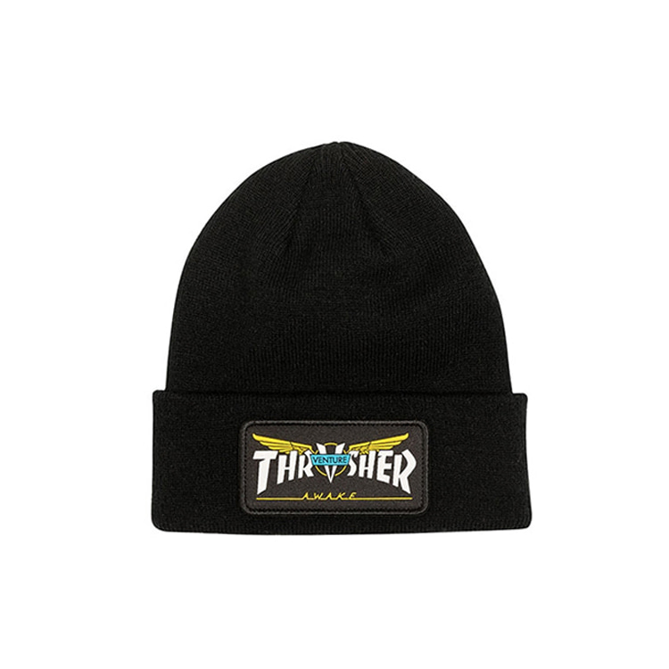 THRASHER X VENTURE VENTURE COLLAB PATCH BEANIE - BLACK