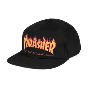 THRASHER FLAME LOGO STRUCTURED SNAPBACK BLACK