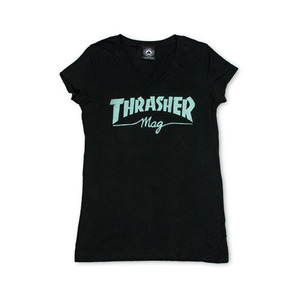 THRASHER MAG LOGO V-NECK - BLACK