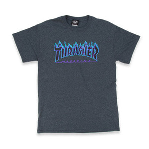 THRASHER FLAME TEE - DARK HEATHER