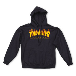 THRASHER FLAME HOOD - BLACK