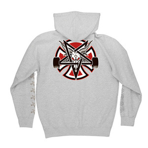 INDEPENDENT X THRASHER PENTAGRAM CROSS PULLOVER HOODED - GREY HEATHER